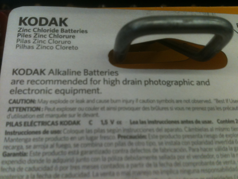 Kodak Size C Zinc Chloride Batteries: Back